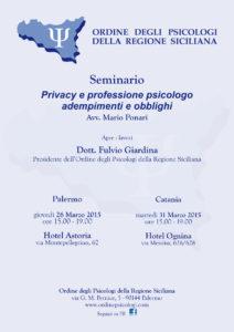Seminario organizzato dall'Ordine degli Psicologi della Regione Siciliana